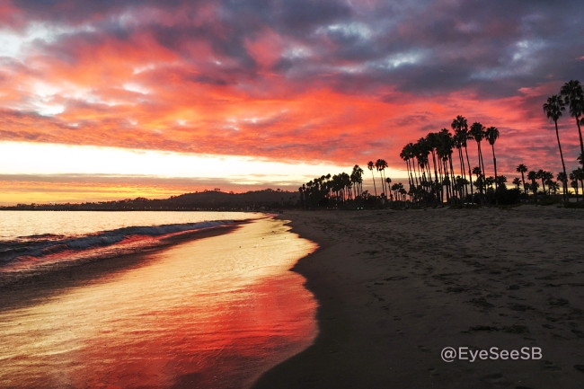 Sunset photograph of East Beach, Santa Barbara