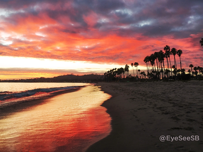 Sunset photograph of East Beach, Santa Barbara