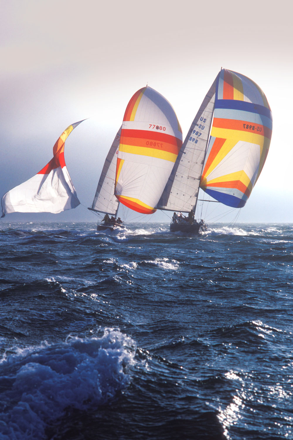 Backlit sailboats racing