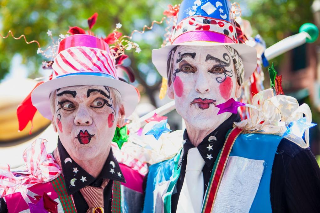 Backlit portrait of parade participants