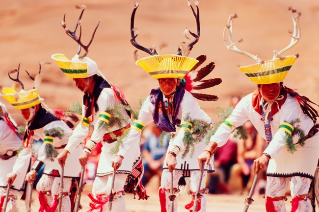 Portrait of San Juan Pueblo Deer Dancers