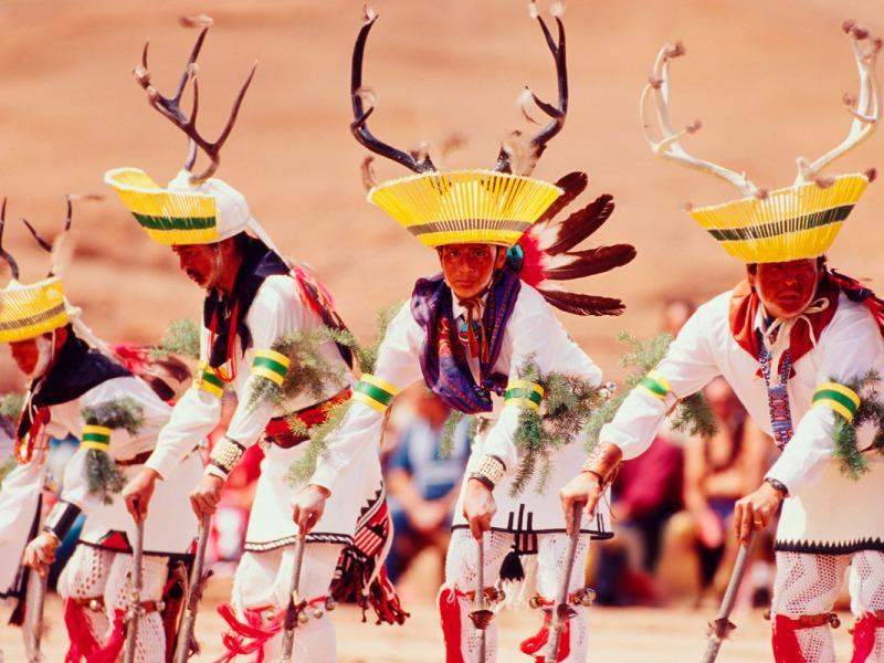 Portrait of San Juan Pueblo Deer Dancers