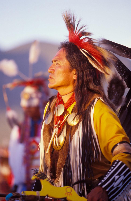 Portrait of traditional powwow dancer
