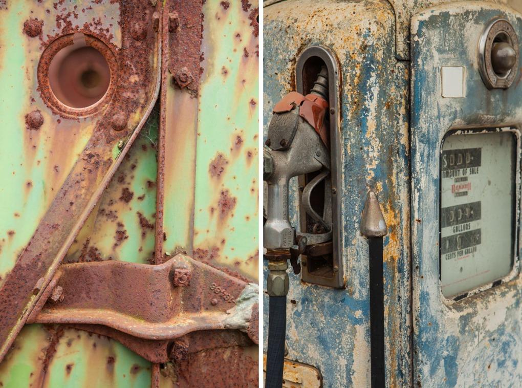 Rusty antique farm machinery