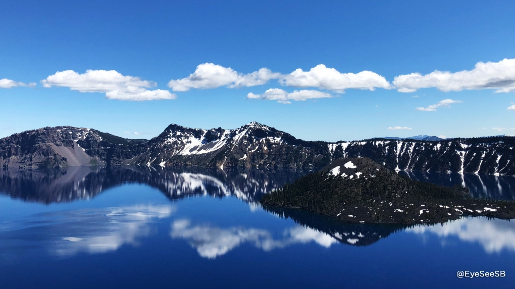 Landscape of Crater Lake and reflection