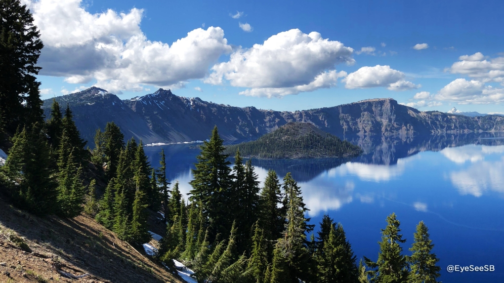 Landscape of Wizard Island on Crater Lake