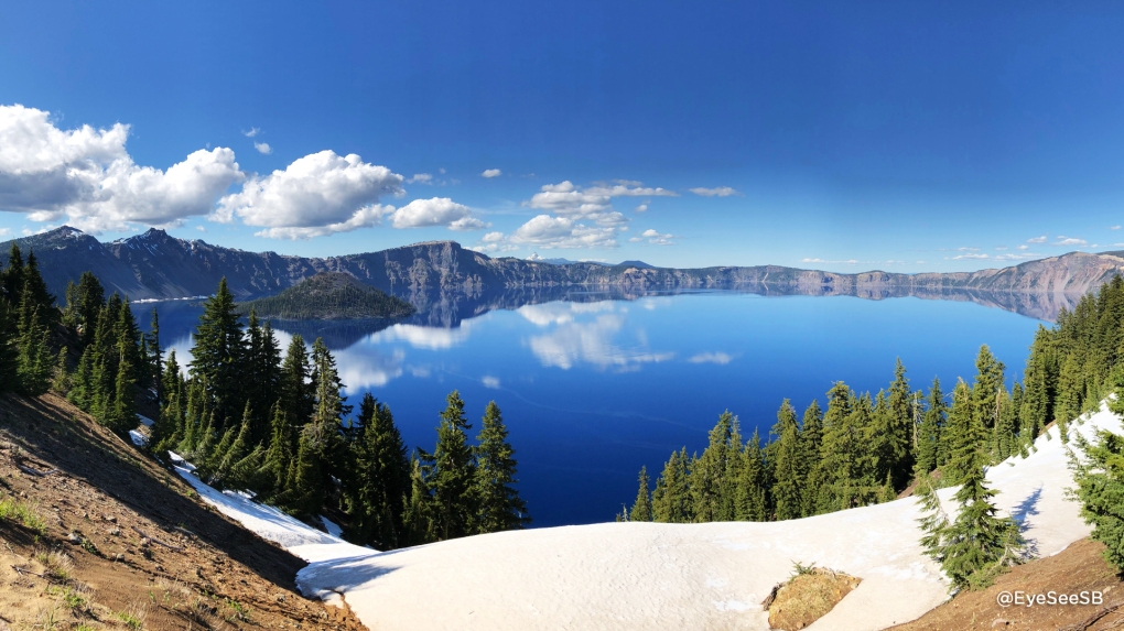 Landscape of Crater Lake with snow