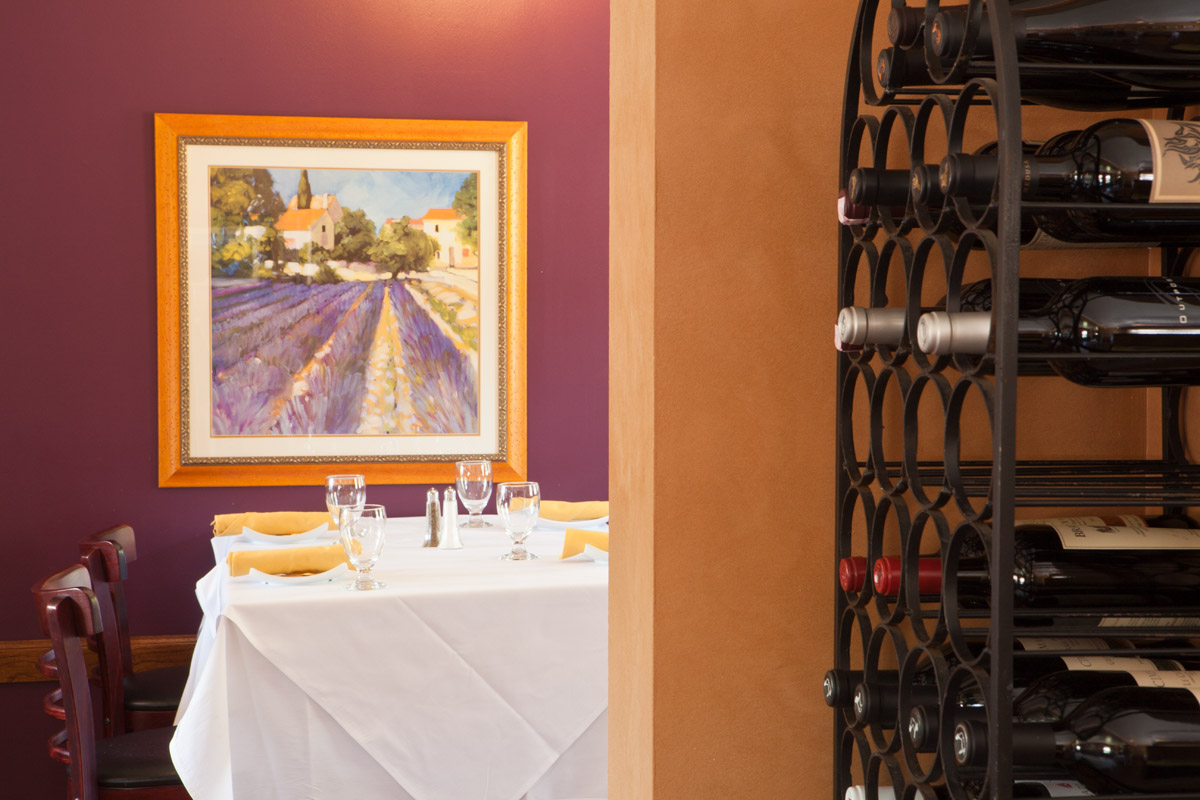 restaurant interior photographed with window light