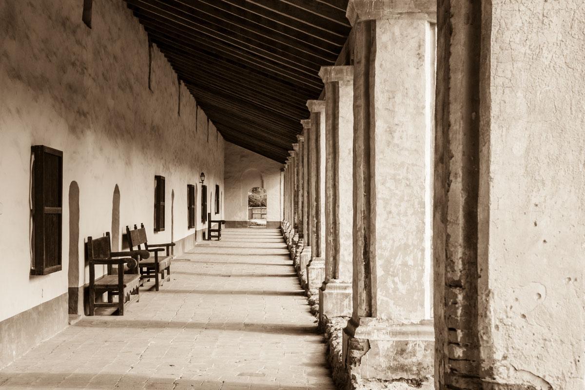colonnade, La Purisima Mission State Historic Park, Lompoc, California