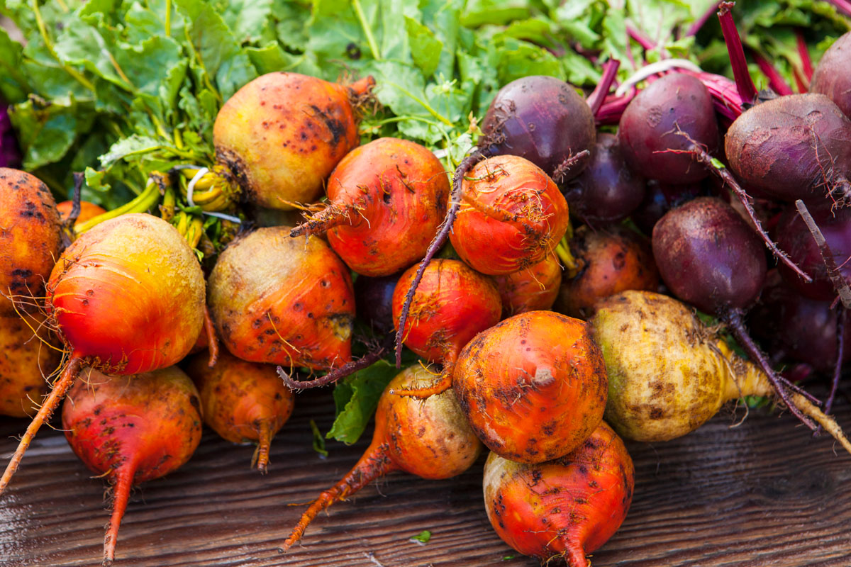 gold and purple beets