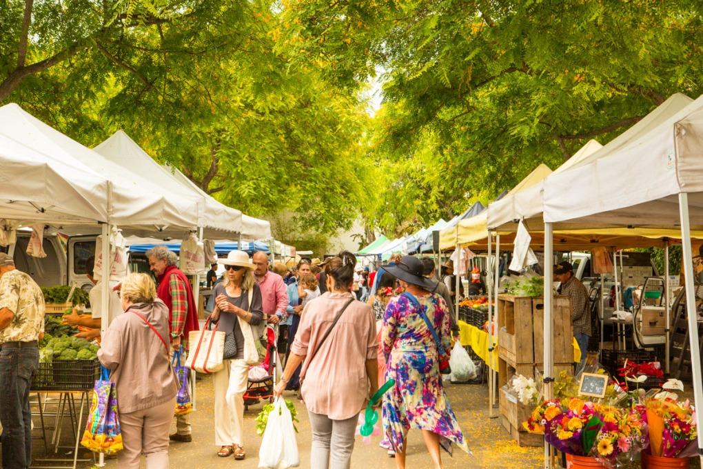 Customers wander a Farmers Market