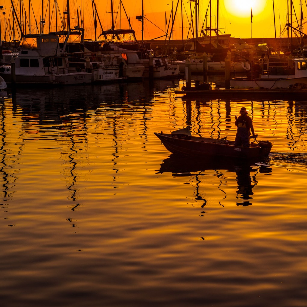 Photograph of harbor at sunset.