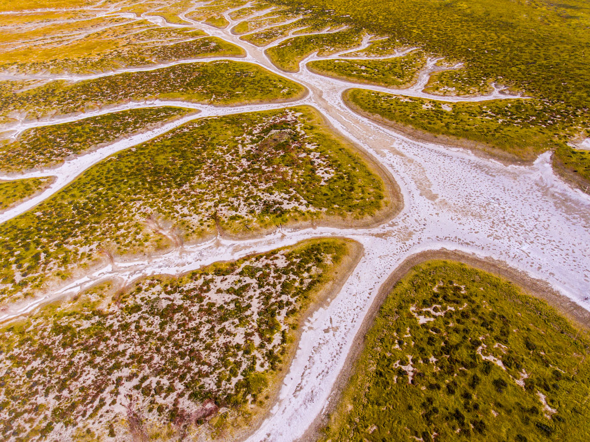 Aerial drone photography of Soda Lake watershed in Carrizo Plain