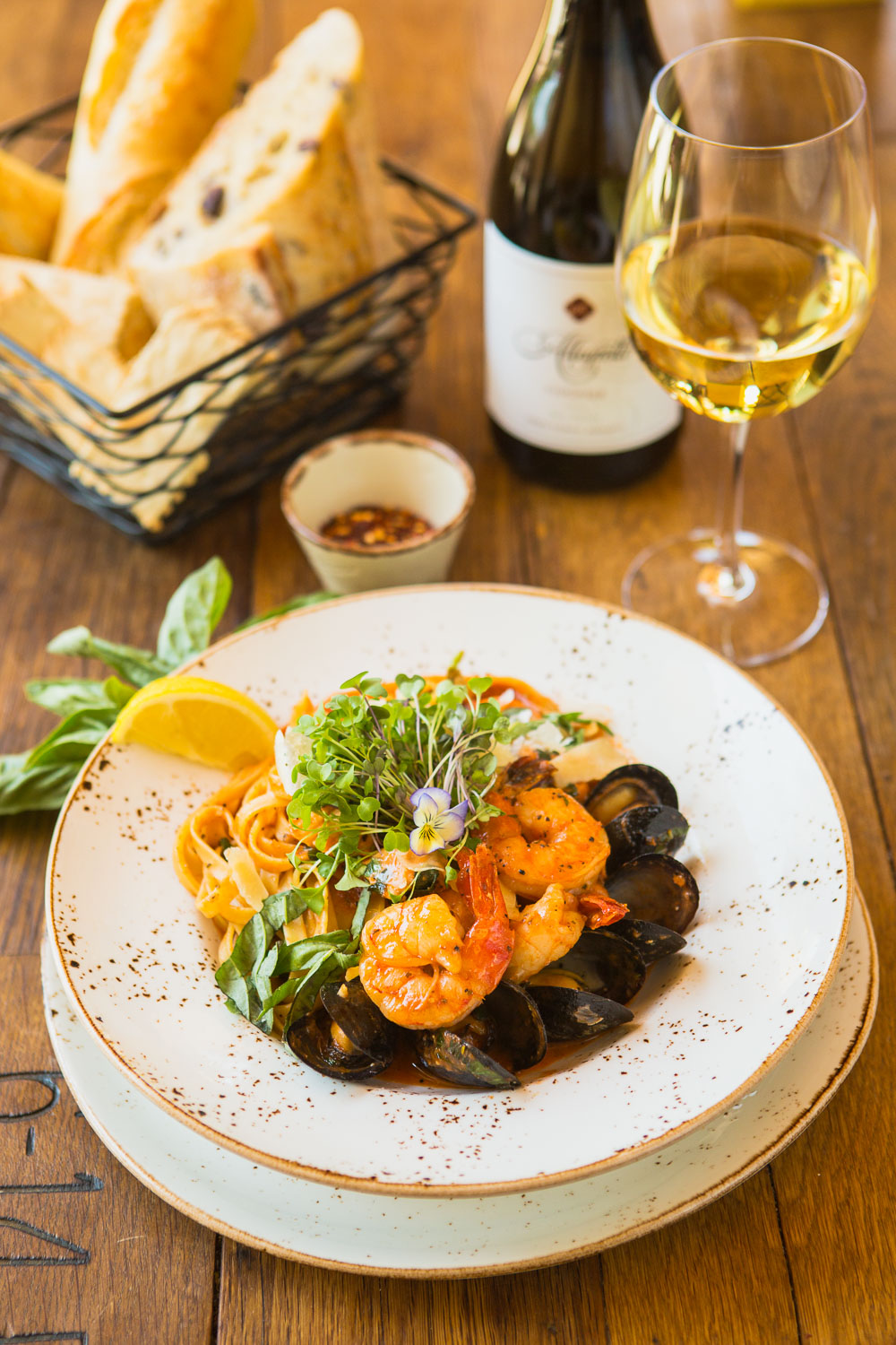 Seafood fettuccine with food props