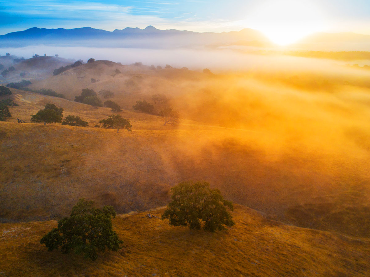 Aerial drone photography of foggy sunrise