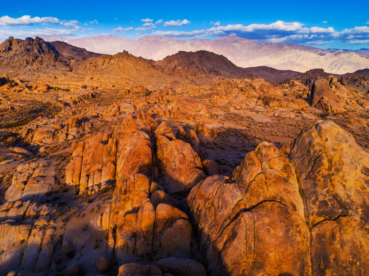 Aerial of the Alabama Hills front lit at Magic Hour
