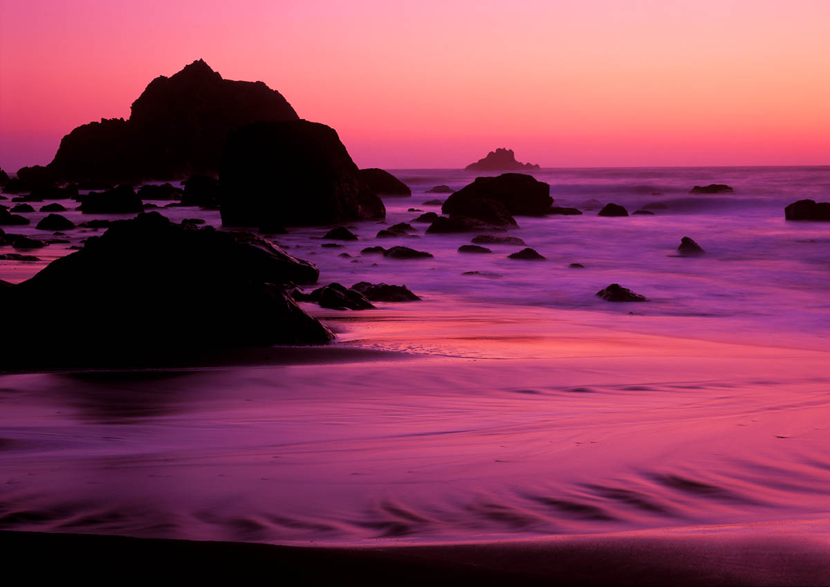 Waves along the Northern California Coast blur with a long shutter speed