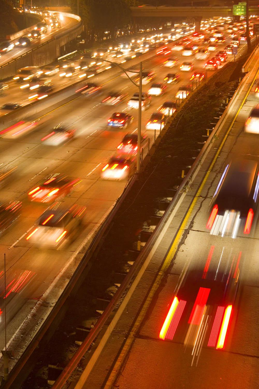 Slow shutter speeds blurs traffic in L.A.