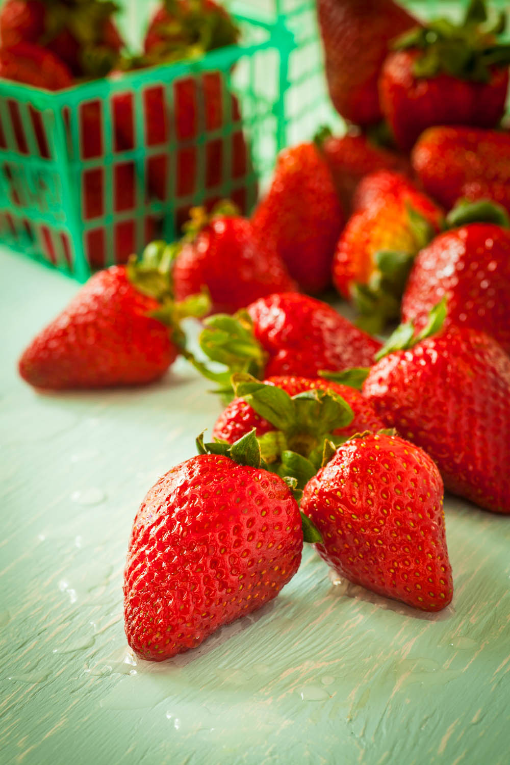 Photographing strawberries at a low angle
