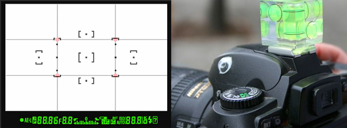 Viewfinder grid and bubble level