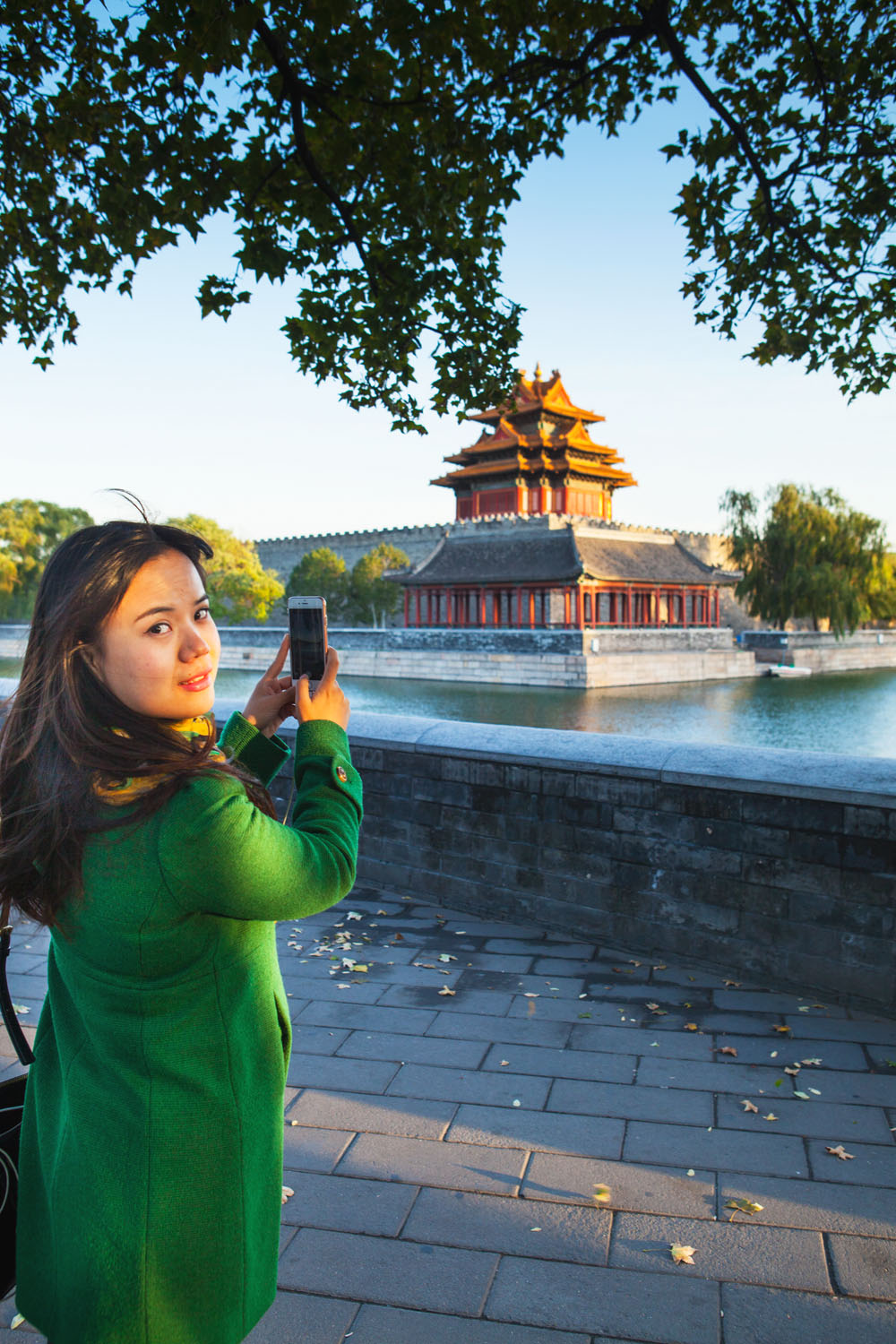 Chinese tourist films Forbidden City in Beijing, China