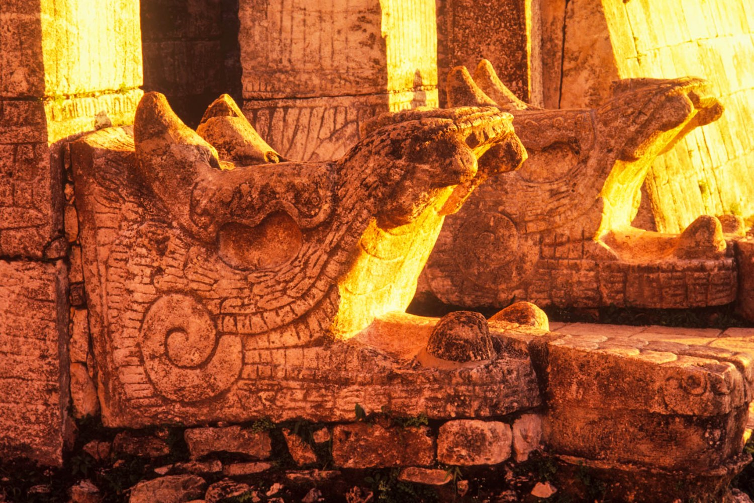Carvings on Mayan Pyramid in Mexico