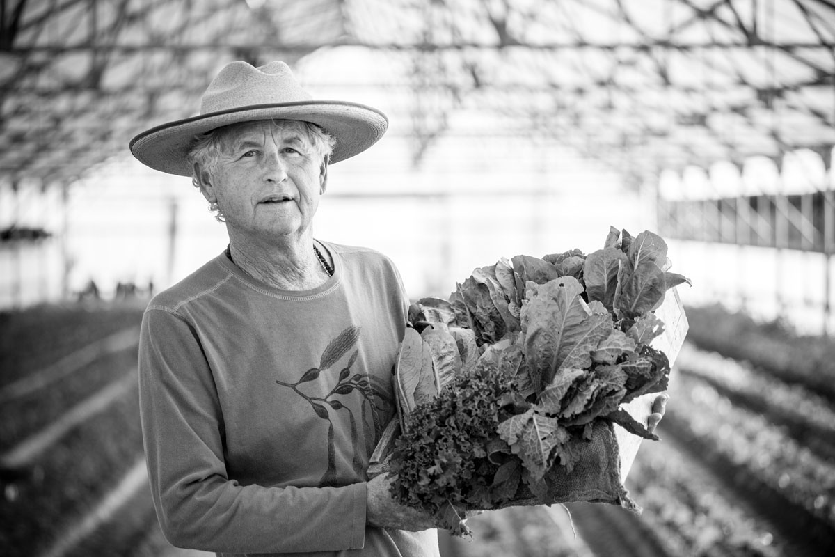 Black and white portrait of a farmer