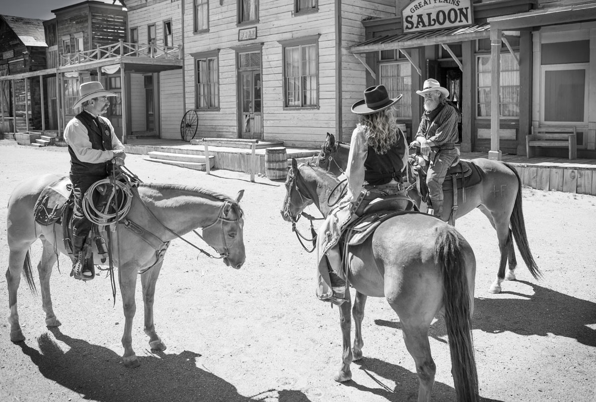 Black and white of an Old West town