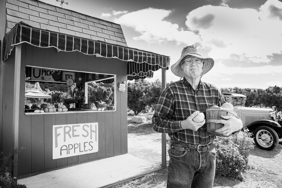 Black and white of an apple farmer in the Santa Ynez Valley