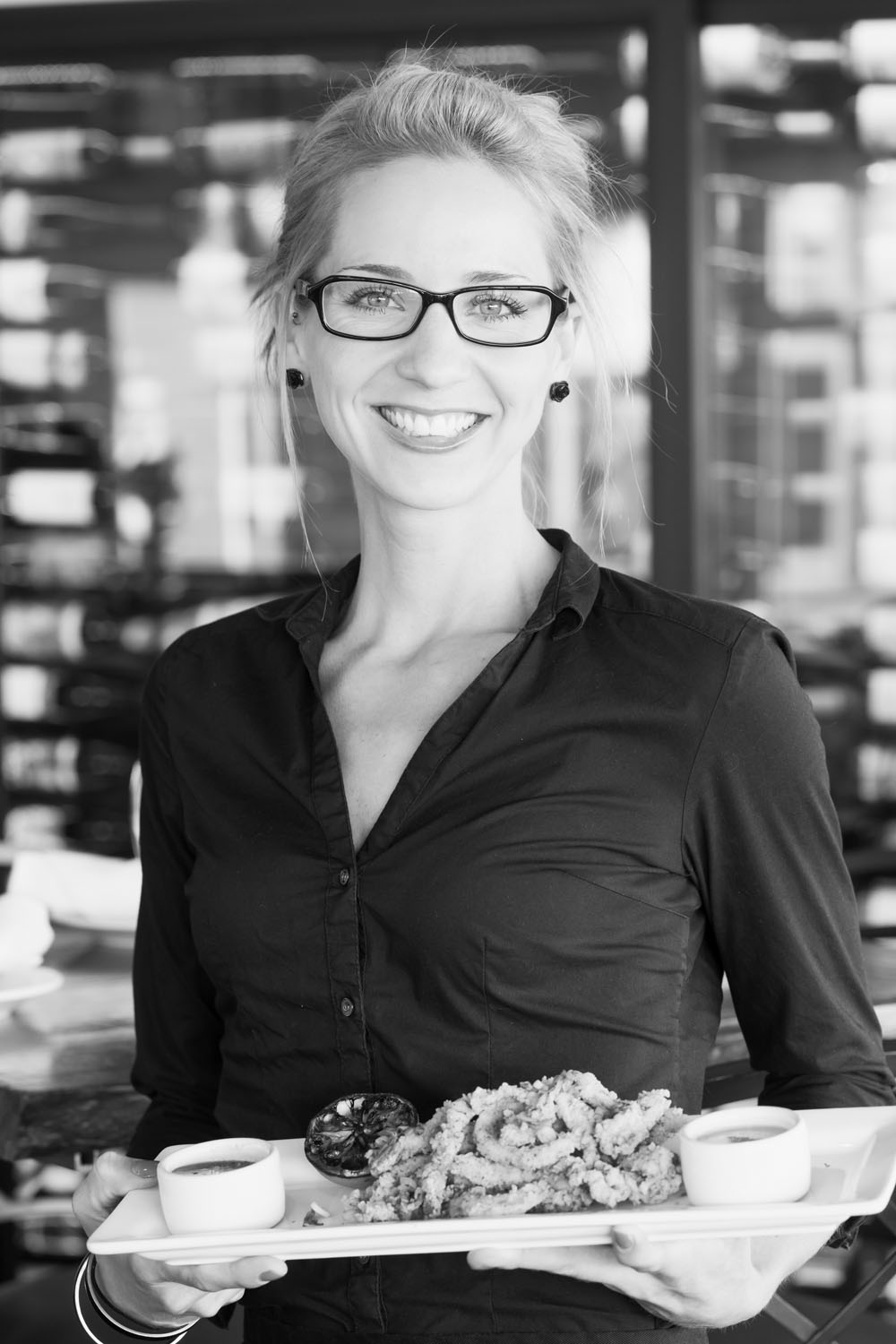 Black and white portrait of server in Avila Beach