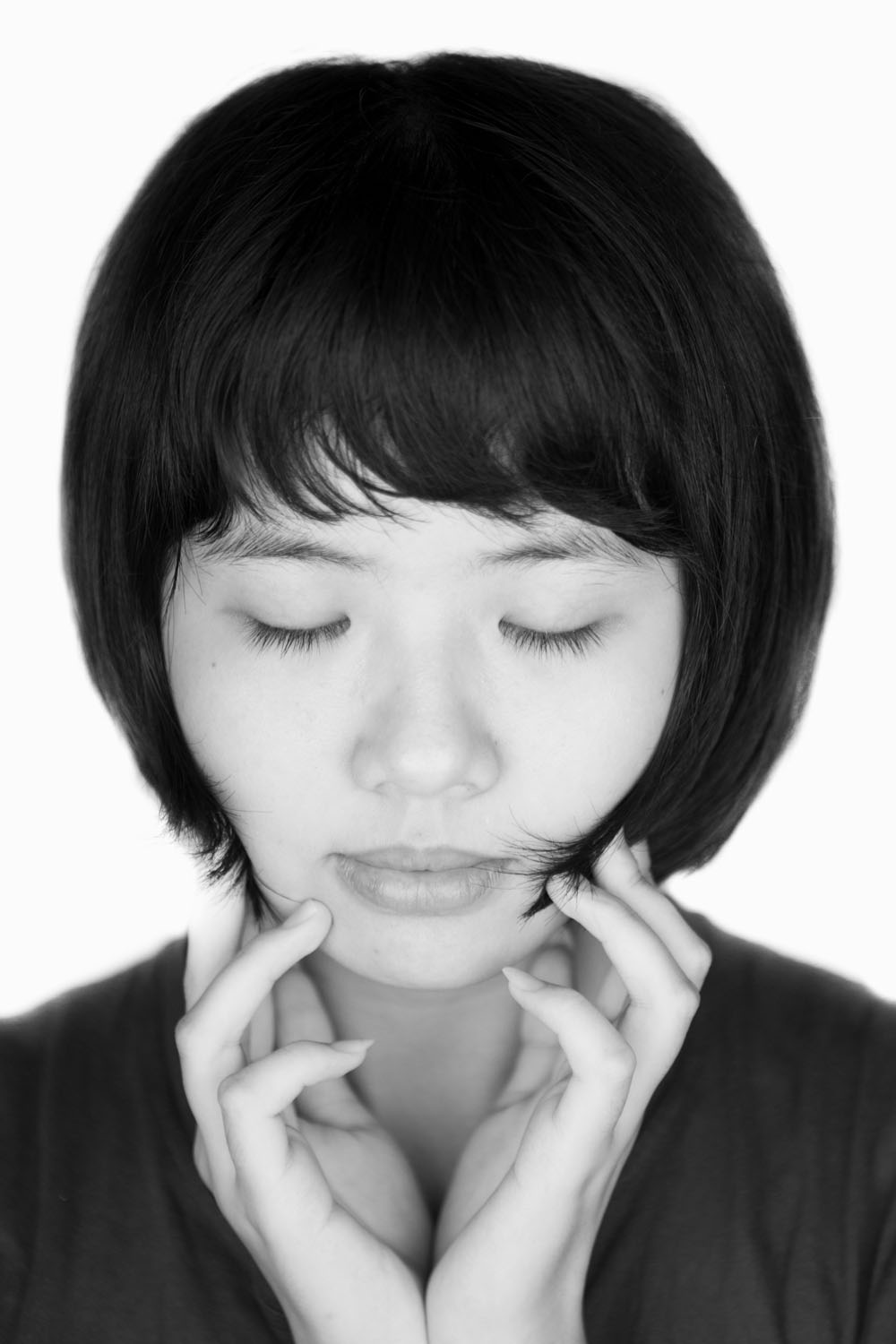 Black and white portrait of student in China