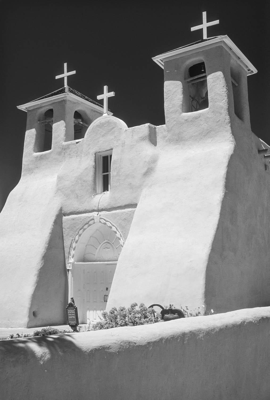Black and White photograph the church at Rancho de Taos, New Mexico