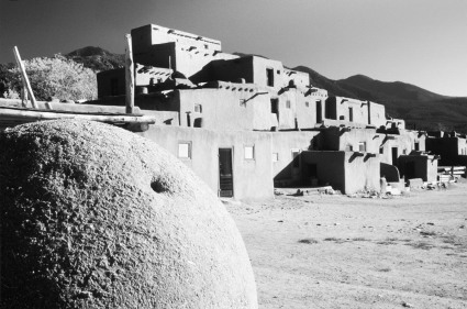 Black and White photograph of Taos, Pueblo