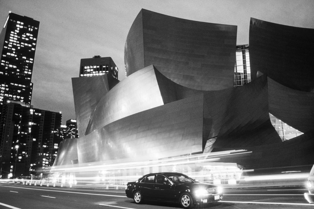 Black and White photograph of Walt Disney Concert Hall at dusk