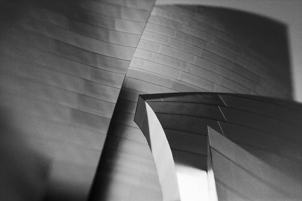 Black and white photograph of abstract building detail using a Lensbaby