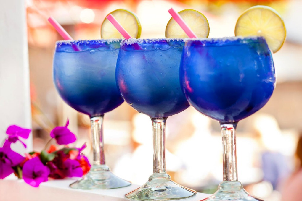 Line of margaritas with soft background