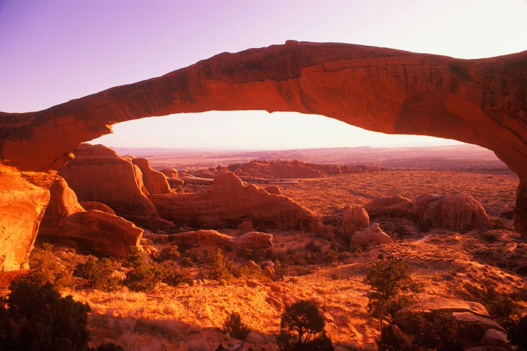 Vista Landscape Arch in Arches National Park, Utah, using a 28mm wide angle lens.