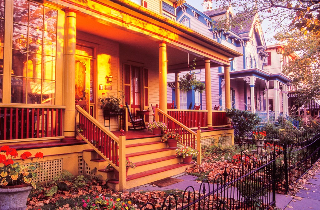 Victorian front porches are captured with a 24mm wide angle lens