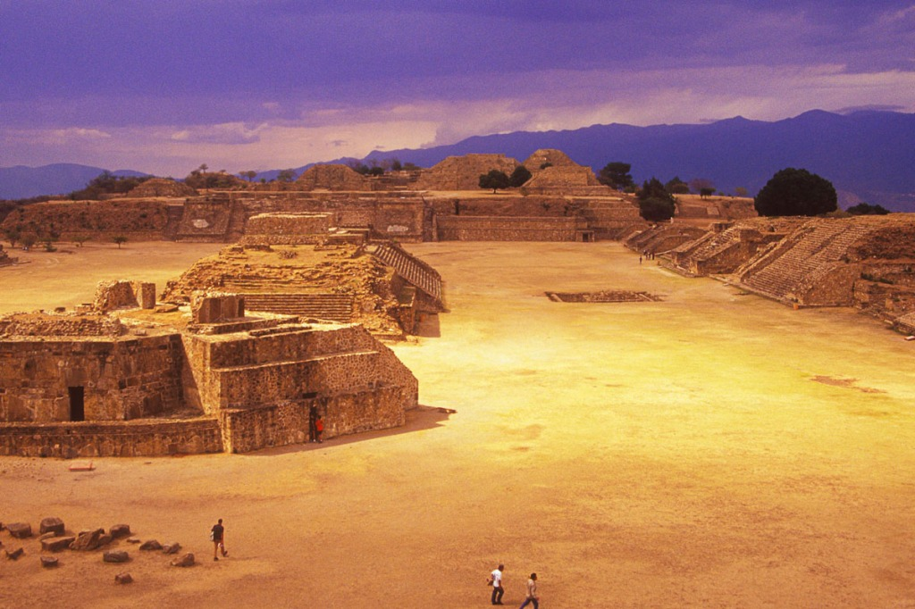 Scenic 24mm wide angle lens image of Monte Alban Archeological Zone