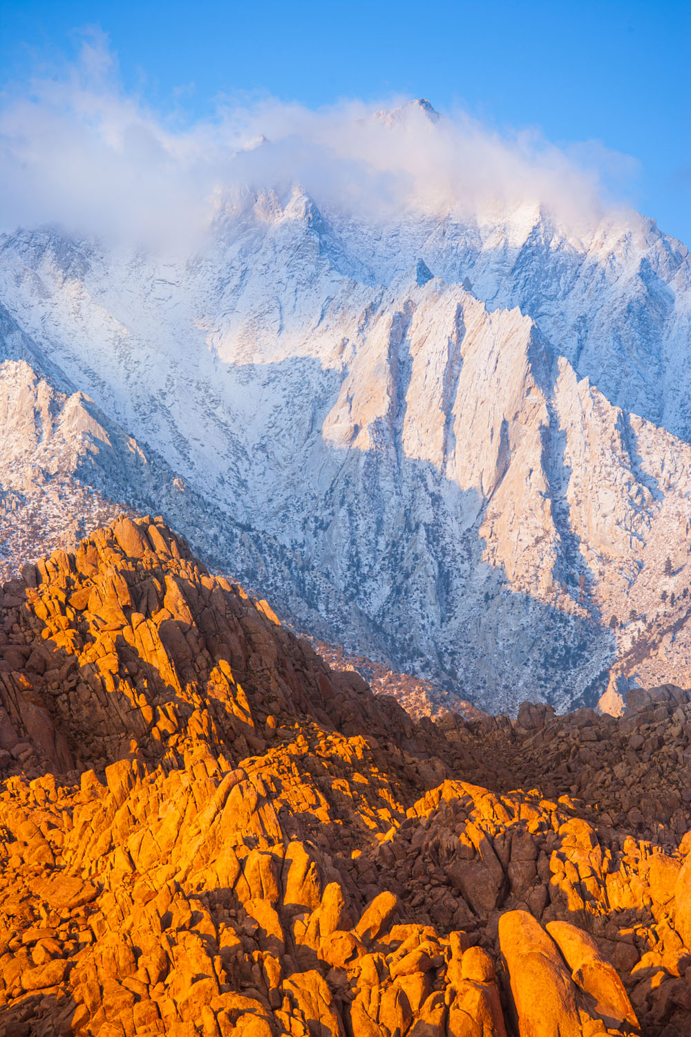 Sierra Nevada Mountains was photographed with a 300mm telephoto lens